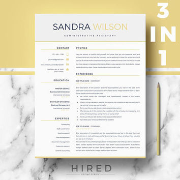 Modern Resume templates | Professional Resumes for Ms Word | 1, 2 & 3 Page Resume template (3 styles included)  | Instant digital download