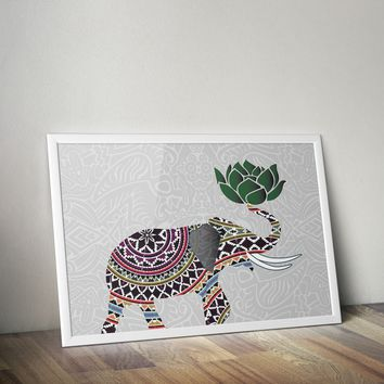 Indian Elephant with Lotus Flower Bohemian Poster Art Print 20 x 30