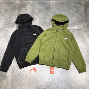 """""""The North Face"""" Unisex Loose Casual Retro Solid Color Line Letter Print Sportswear Couple Zip Cardigan Long Sleeve Windbreaker Coat"""