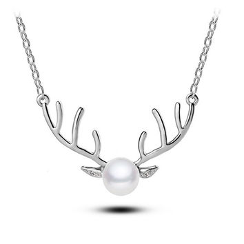 Silver Big Reindeer Horn Fake Pearl Necklace