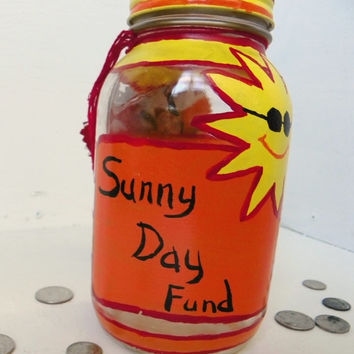 Sunny Day Fund!  Colorful Money Jar Upcycled Recycled Jar