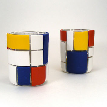 De Stijl Inspired Clay Geometric Set of 2 Glass Votive Candle Holders - Primary /  Red, White, Blue, Yellow, Home Decor