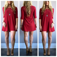 A Red Knit Tunic Dress