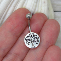 Antique silver tree belly button ring , tree of life charm, navel piercing, belly button ring jewelry,unique gift