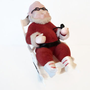 Vintage Celluloid Santa In Rocking Chair Christmas Holiday Decoration