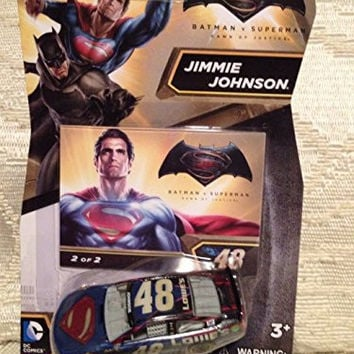 2016 Nascar Authentics 1:64 - Batman vs Superman: Dawn of Justice Jimmie Johnson #48 Superman Edition #2 of 2 1/64 Scale Diecast NASCAR Authentics With One in a Series of Two Collector Card