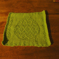 Hand Knitted Gorgeous Green Easter Egg Picture Dish Cloth or Wash Cloth