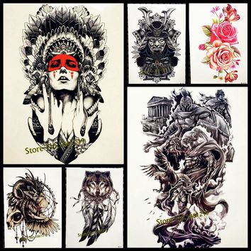 1PC Hot Sale Indian Warrior Waterproof Flash Tattoo Men Body Art Sleeve Arm Tattoo Stickers 21*15CM Large Fake Tatoo Car Styling