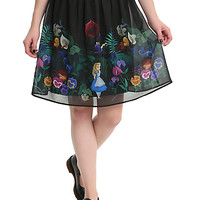 Disney Alice In Wonderland Flowers Border Print Chiffon Skirt