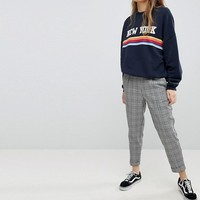 Pull&Bear Check Peg PANTS With Cuff Leg at asos.com