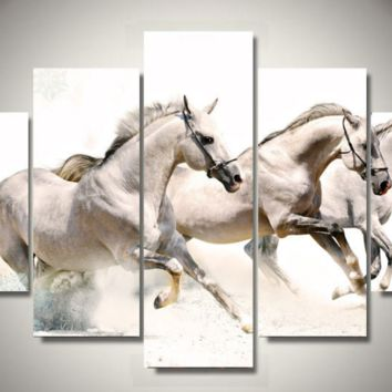 3 White Horses 5-Piece Wall Art Canvas