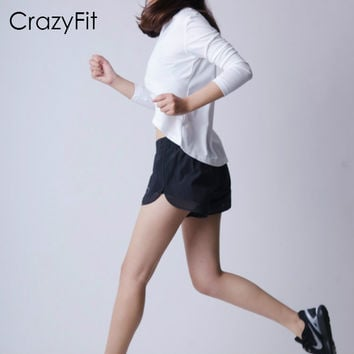 CrazyFit women running sports ventilate lining compression shorts gym outdoor short sports fitness mesh pockets quick dry shorts
