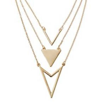 "Women's Three-Row Long Necklace w/ Chevron & Triangle - Gold (32"")"