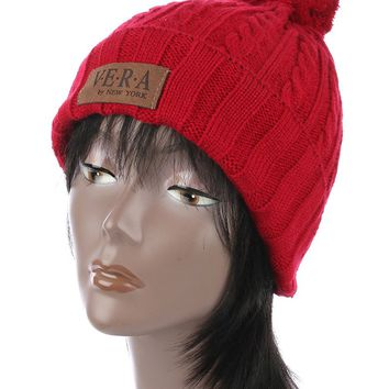 Red Pom Pom Cable Knit Winter Beanie Hat And Cap