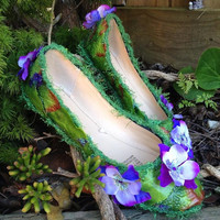 Nymph-ish Size 7 Ladies Faerie Shoes made in Faeryland OOAK ready made hydrangea