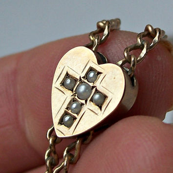 Antique Gold Heart Cross Slide Watch Chain,Victorian Watch Slide,Gold Filled Watch Chain,Victorian Gold Slide,Long Watch Chain,Heart Slide