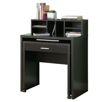 Cappuccino Hollow-Core Spacesaver Desk With Open Storage