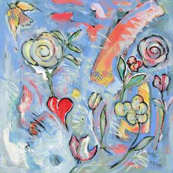 """Pastel Acrylic Abstract Expressionist Painting """"My Heart"""""""