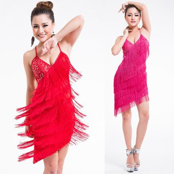 Sexy Women Girls Sequins Latin Dance Dress Tassel Dance Wear Performance V Neck Cross Back Bandage Competition Fancy Dress