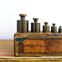 Brass Scale Weights Apothecary Set Industrial Home Decor Instant Collection