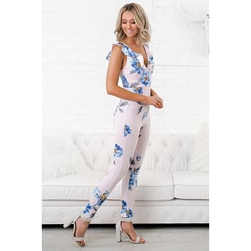 Story With Flowers Jumpsuit (Blush)