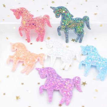 65*60mm Shiny Paillette Padded Patches Glitter Unicorn Appliques for Crafts Clothes Sewing Supplies DIY Hair Bow ornament F67