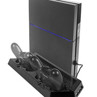 Spinz® Playstation 4 Vertical Cooling Stand with 2 Fans - Include Dual Charger Ports - Charging Station for Dual Shock Controllers - 3 USB Ports - Black for PS4