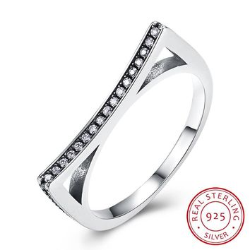 Women 925 Sterling Silver Ring Trend Personality New Sterling Silver Retro with Black Zirconium Ring