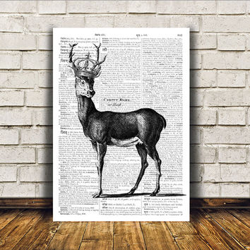 Dictionary print Deer art Wall decor Stag poster RTA336
