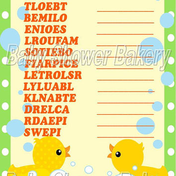 Baby Shower Word Scramble Game, Printable Baby Shower Game, Rubber Duck Baby Shower Game, Printable Gender Neutral Word Scramble Game