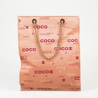 Chanel Pink Multicolor Canvas & Leather 'COCO' Print Shopping Tote Bag