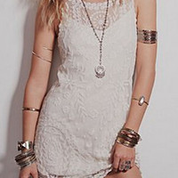 White Lace Panel Bodycon Dress
