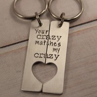 """Your crazy matches my crazy"" - Deadpool Inspired Couples Keychain Set"