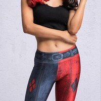 New Red-Blue Patchwork Clown Print High Waisted Harley Quinn Sports Yoga Workout Long Legging