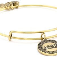"Alex and Ani ""Sorority"" Delta Phi Epsilon Expandable Rafaelian Gold Finish Wire Bangle Bracelet"
