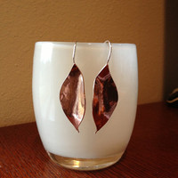 Handmade Forged Copper Leaf Earrings Free Shipping to US Addresses