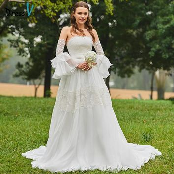 Dressv Long Wedding Dresses Long Sleeves A Line Backless Sashes Ribbons Ruffles Strapless Chiffon Garden Custom Wedding Dresses