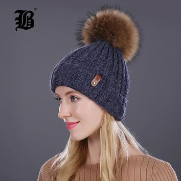 Women's warm winter hat beanies fur wool hat