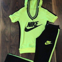 """NIKE"" Fashion Casual Letter Print V-Neck Hooded  Set Two-Piece Sportswear"