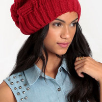 Bright Crimson Chunky Beanie - $18.00 : ThreadSence, Women's Indie & Bohemian Clothing, Dresses, & Accessories