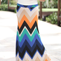 Navy Multi Color Chevron Maxi Skirt