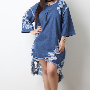 Destroyed Oversized High Low Denim Dress