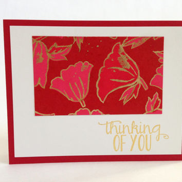 Red Floral Thinking of You Card - Handmade Paper Hello Card - Just Because Card - Sympathy Card - Encouragement Card - Friendship Card