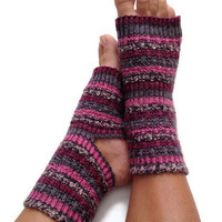 Toeless Yoga Socks Hand Knit in Pink Purple and Grey Stripes