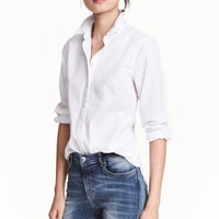 Cotton shirt - White - Ladies | H&M CA