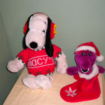 RARE 1972 Macys Snoopy Brand NEW With Tag and Barney Christmas Stocking Brand new never before used.