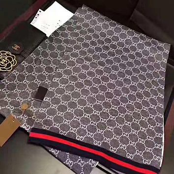 GUCCI Hot Sale Men Women GG Letter Jacquard Cashmere Scarf Scarves Shawl Accessories Grey