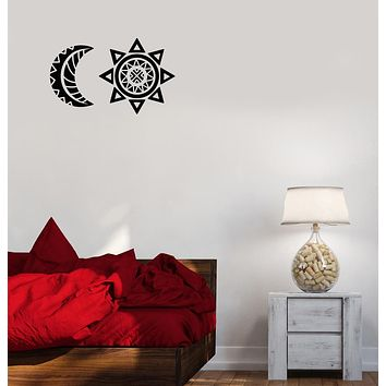 Vinyl Wall Decal Sun And Moon Ethnic Style Geometric Stickers (3634ig)