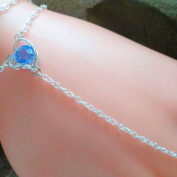 Sterling Silver Heart Slave Bracelet, Aquamarine Crystal, Hand Harness, Infinity Ring, Body Chain, Hand Jewelry