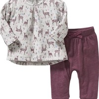 Old Navy Deer Print Top & Leggings Set For Baby
